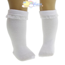 "White Lace Trim Knee Socks For 18"" American Girl Dolls"