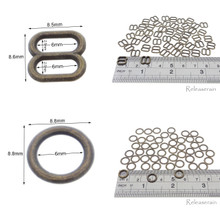 6mm Inner Diameter Bronze DIY Doll Clothes Metal Sewing Bra Lingerie Sliders 50 Pieces + O Rings 50 Pieces