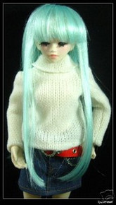 Unoa Yo-SD Dollfie Pale Turquoise Long Straight 6-7 Wig