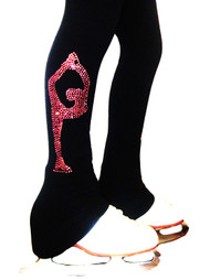 "Figure Skating Pants with pink crystals  ""Biellmann"" rhinestone applique"