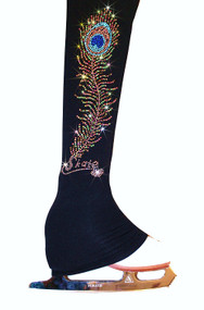 "Ice Skating Pants with ""Charming Peacock Feather"" Rhinestone Design"