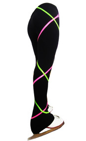 Criss Cross Fleece Ice Skating Pants  Pink/Lime XP511