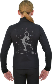 ChloeNoel Figure Skating Outfit - P11 Figure Skating Pants and J11 Solid Polar Fleece Fitted Figure Skating Jacket w/ Spinning Skater Crystals Combination