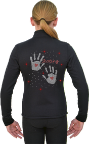 ChloeNoel Figure Skating Outfit - P11 Pants and J11 Solid Polar Fleece Fitted Jacket w/ Hand Prints Crystals Combination