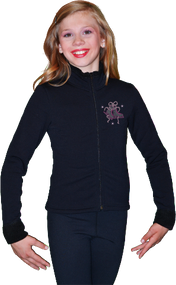 ChloeNoel Figure Skating Outfit - P11 Pants and J11 Solid Polar Fleece Fitted Jacket w/ Mini Jump Skater Crystals Combination