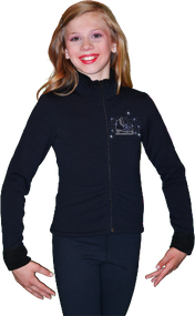 ChloeNoel Figure Skating Outfit - P11 Pants and J11 Solid Polar Fleece Fitted Jacket w/ Skate/Blue Snowflakes Crystals Combination