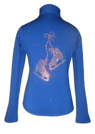 """Blue ice skating jacket with """"Pair of skate"""" applique"""