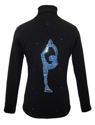Figure Skating Jacket by Ice Fire - Blue crystals Biellmann applique