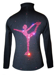 Figure Skating Jacket by Ice Fire - Pink Crystals Chinese Spiral  applique