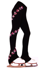 """Ice Skating Pants with  """"Pink Spiral Hearts"""" Rhinestuds Design"""