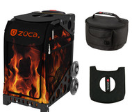 Zuca Sport Bag - Blaze with Gift Lunchbox and Seat Cover (Black Non-Flashing Wheels  Frame)