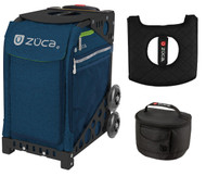 Zuca Sport Bag - Deep Sea Navy  with Gift Lunchbox and Seat Cover (Black Non-Flashing Wheels  Frame)
