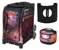 Zuca Sport Bag - Galaxy  with Gift Lunchbox and Seat Cover (Black Non-Flashing Wheels  Frame)