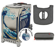 Zuca Sport Bag - Great Wave  with Gift Pencil Case and Seat Cover (Gray Frame)