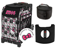 Zuca Sport Bag - Hello Kitty Masterpiece with Gift Lunchbox and Seat Cover (Black Non-Flashing Wheels  Frame)