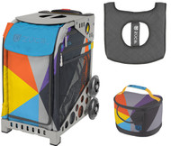 Zuca Sport Bag - Colorblock Party with Gift Lunchbox and Seat Cover (Gray Frame)