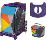Zuca Sport Bag - Colorblock Party with Gift Lunchbox and Seat Cover (Purple Frame)