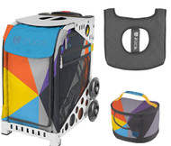 Zuca Sport Bag - Colorblock Party with Gift Lunchbox and Seat Cover (White Frame)