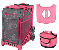 Zuca Sport Bag - Peace Now (Limited Edition) with Gift Lunchbox and Seat Cover (Pink Frame)
