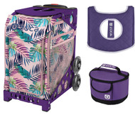 Zuca Sport Bag - Pink Oasis  with Gift Lunchbox and Seat Cover (Purple Frame)