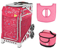 Zuca Sport Bag - Pink SK8 with Gift Lunchbox and Seat Cover (White Frame)