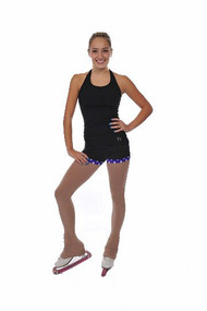 Savvy Skater Fold-over w/Polka Dot Trim Figure Skating Shorts