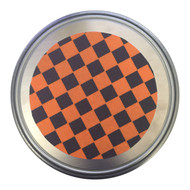 "The Mad Spinner for Ice Skating 10"" diameter - Orange & Black Checkers"