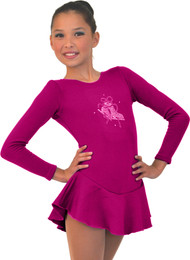 ChloeNoel DLF38 Long Sleeve Fleece Dress with Crystals (Magenta)