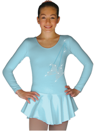 ChloeNoel DLP728 Plain Solid Sanded Poly Spandex Dress Light Blue w/ Ribbon Skate Flakes