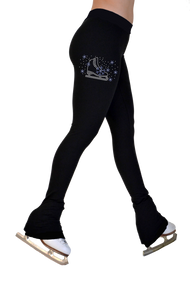 "ChloeNoel P622F All Black 3"" Waist Band Light Weight Fleece Pants w/ Skate/Blue Snowflakes Crystals"