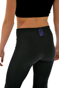 "ChloeNoel P622F All Black 3"" Waist Band Light Weight Fleece Pants with  Purple Swarovski Crystal Blocks"