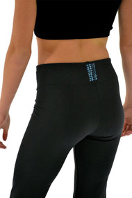 "ChloeNoel P622F All Black 3"" Waist Band Light Weight Fleece Pants Turquoise Swarovski Crystal Blocks"