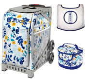 Zuca Sport Bag - Boho Floral  with Gift Lunchbox and Seat Cover (Grey Frames)