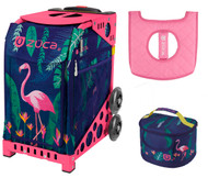 Zuca Sport Bag - Flamingo  with Gift Lunchbox and Seat Cover (Pink Frames)