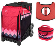 Zuca Sport Bag - Pink Diamonds  with Gift Lunchbox and Seat Cover (Black Non-Flashing Wheels  Frames)