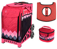 Zuca Sport Bag - Pink Diamonds  with Gift Lunchbox and Seat Cover (Pink Frames)