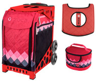 Zuca Sport Bag - Pink Diamonds  with Gift Lunchbox and Seat Cover (Red Frames)