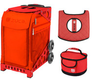 Zuca Sport Bag - Persimmon with Gift Lunchbox and Seat Cover (Red Frames)
