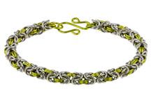 2-Color Byzantine Bracelet Kit - Silver/Peridot