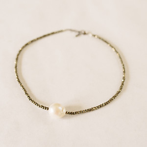 Pyrite and Baroque Pearl Necklace