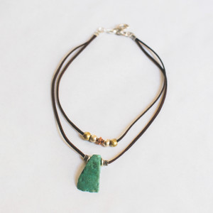 Leather And Glass Turquoise Necklace