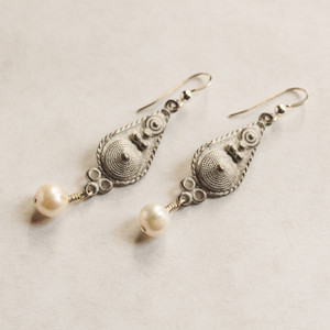 Pearl and Coated Silver Earrings