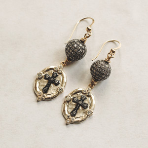 CZ and Cross Gold Earrings