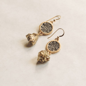 Coin and Pyrite Nugget Earrings