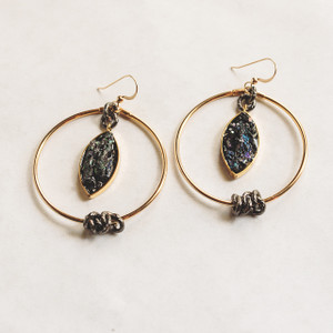 Gold Hoop and Black Druzy Earrings