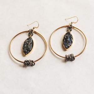 Gold Hoop and Black Druzy Earrings