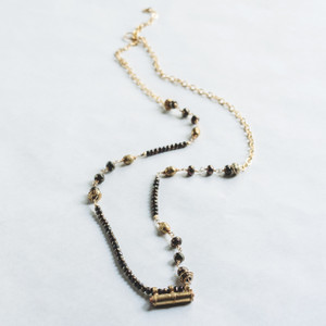 Chocolate Spinel and African Prayer Beads and Brass Bar Necklace