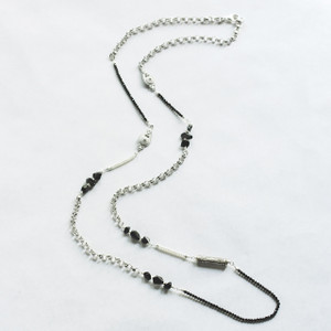 Black Sapphire and Pearl Necklace