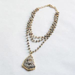 Triple Strand Labradorite and Druzy in Gold  Necklace
