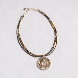 Triple Strand Pyrite and Coin Necklace